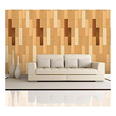Vertical Yellow Tones and Rich Brown of Wood Textured Paneling Pattern Wall Mural Removable Wallpaper, Professional Creation, Fascinating Portrait