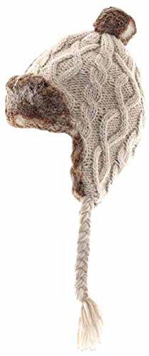 Aran Traditions Oatmeal Beige Faux Fur Trapper Hat