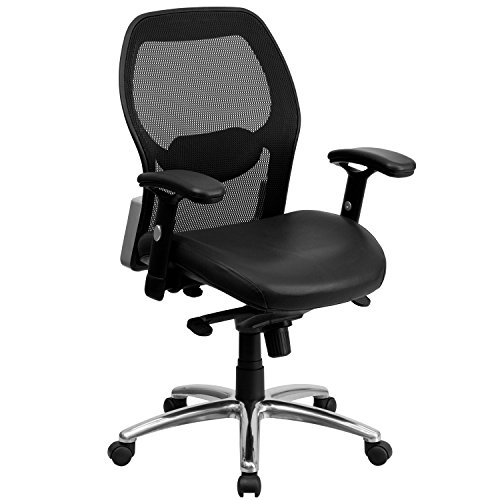 (Flash Furniture Mid-Back Black Super Mesh Executive Swivel Chair with Leather Seat, Knee Tilt Control and Adjustable Arms)