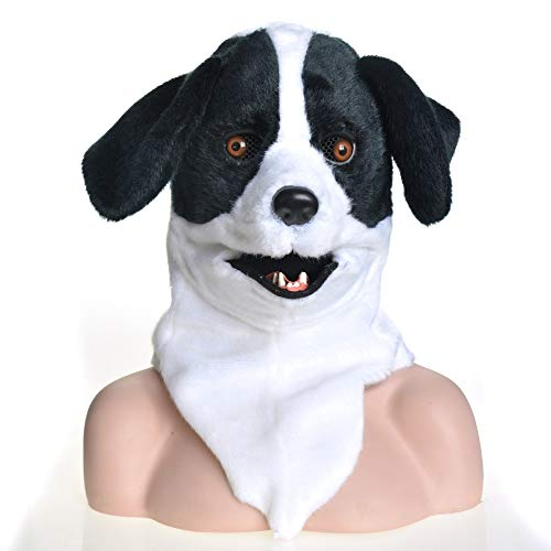 Beixi Cute Dog Head Dog Headgear Creature Moving Mouth Cosplay Carnival Costume Dog Bleach Animal Masks for Halloween (Color : Black, Size : 2525)]()