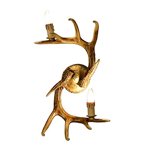 Sheen American Style Village Creative Wall Lamp,E12 Base Glass Antlers Bedroom Wall Sconce Industrial Style Wall Light-42x53cm