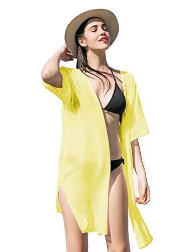 La Carrie Women's Solid Chiffon Cover Up Kimono Cardigan with Half Sleeve Summer Sheer Beachwear Swimsuit for Bikini (Yellow)