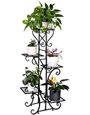 Tall Metal Plant Stand 5 Tier Flower Pot Holder Garden Wrought Iron Planter Shelf Rack Organizer for Outdoor Indoor Black