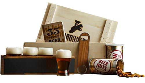 Ultimate Craft Beer Tasting Kit Gift - (9 Piece Drink Set) - Comes in a Wooden Gift Crate - Craft Beer Flight Sampler - Great Gift For Men (Beer Tasting Gift)
