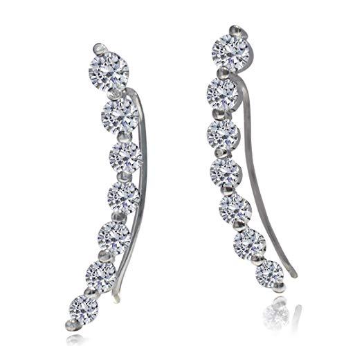 (Ear Climber - Cuff Earring | 925 Sterling Silver With CZ Stone | Hypoallergenic Earring Ear Crawler Earrings For Women)