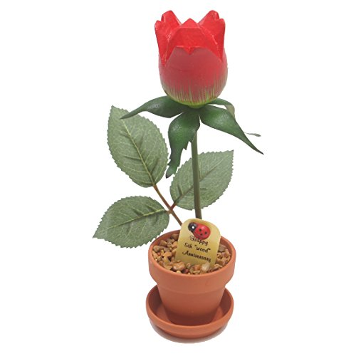 5th Wedding Anniversary Gift Potted Wood Rose (Fifth Anniversary Gift Traditional)