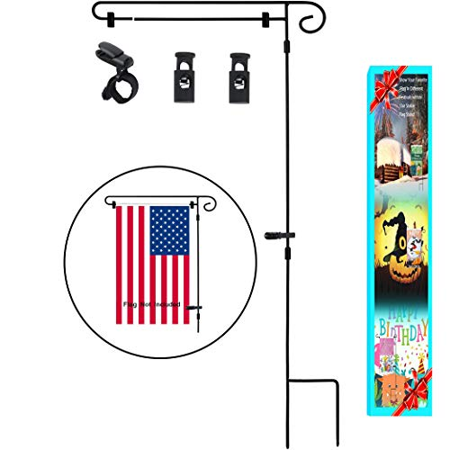 HOOSUN Garden Flag Stand, Graden Flag Holder Easy to Install Strong and Sturdy Wrought Iron Pole 36'' x 18'' Fits Mini Flag 12.5'' x 18'' with 1 Tiger Anti-Wind Clip 2 Anti-Wind Spring Stoppers (Black-A) by HOOSUN