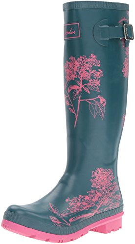 Joules Womens Welly Print Rain Boot Pine Hydrangea