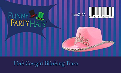 0884a5c188d61 Funny Party Hats Pink Cowgirl Blinking Tiara Hat Children s Size - Cowboy  Flashing Tiara Costume Accessory