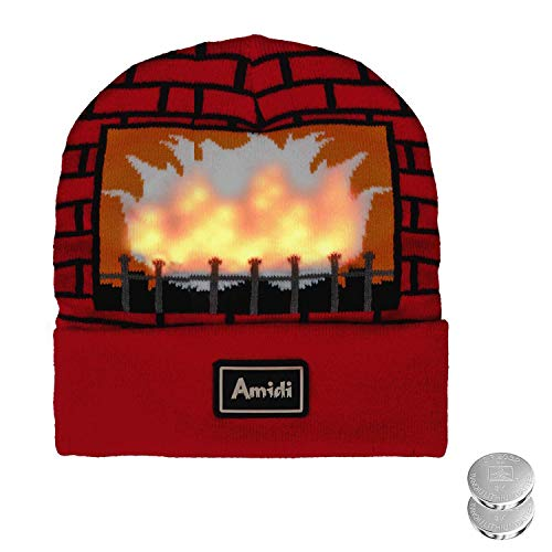 Fairytaloid  Flickering Flames Light Up Hat, Unisex Real Flames Knitted Beanie Hat/Cap Costume for Christmas Birthday Light Show Party