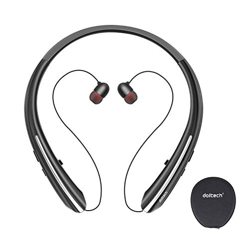 Bluetooth Headphones, Doltech Neckband Wireless Bluetooth 5.0 Headset with Retractable Earbuds, Hi-Fi Stereo Sound Earphones with Mic and Carrying Bag, Sweatproof Call Vibrate Alert Black
