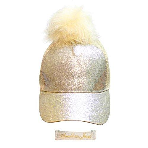 American Jewel Glitter Pom Pom Baseball Cap - Novelty Hat Ballcap - Teens - Children - Ponytail - Gold