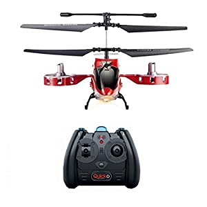 Dcolor RC Helicopters with Gyro and LED Light 4 Channel Alloy Helicopter Remote Control Toy for Kids & Adult Red