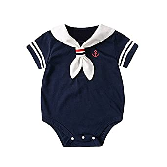 dd9b7ecf055 BATHAN Newborn Unisex Baby Rompers Girls Boys Nautical Sailor Jumpsuit  Bodysuit Outfit (60  3