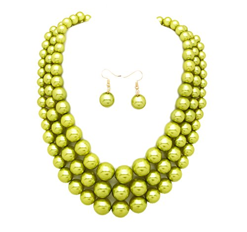 Women's Simulated Faux Three Multi-Strand Pearl Statement Necklace and Earrings Set (Lime Green)