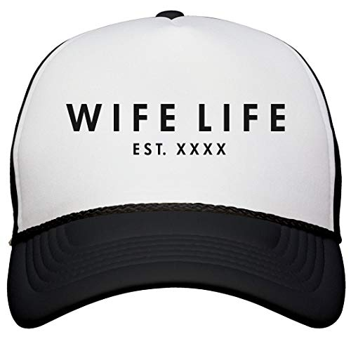 Wife Life Custom Wedding Date: Snapback Trucker Hat White/Black