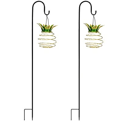 Best Choice Products Set of 2 Solar-Powered Hanging Pineapple Lights Decor for Garden, Patio w/Metal Hook Rods - Yellow