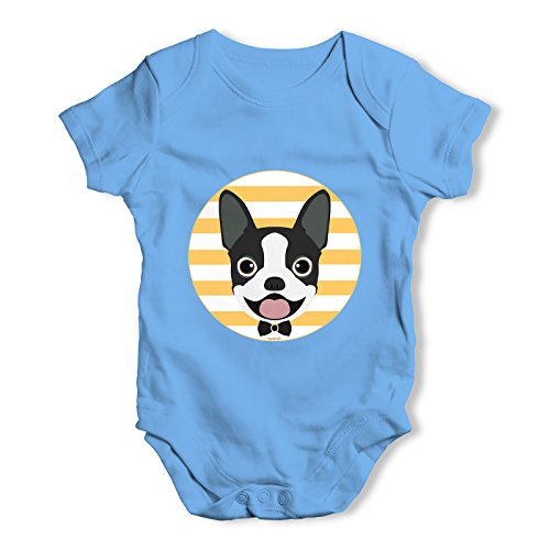 Twisted Envy Boston Terrier Bow Tie Baby Unisex Blue Baby Grow Bodysuit 0 - 3 Months