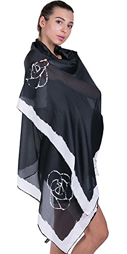 100% Silk Scarf for Women Fall Printed Shawl Wrap Headscarf Long Large Lightweight Satin Black Scarves