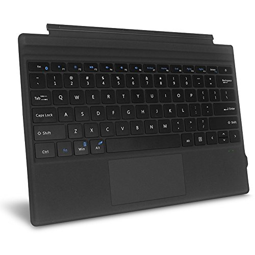 Fintie Microsoft Surface Pro 2017 / Pro 4 / Pro 3 Type Cover, Ultra-Slim Portable Wireless Bluetooth Keyboard with Two-Button Trackpad and Built-in Rechargeable Battery (Black)