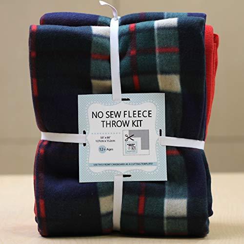 Traditional Plaid Print No-Sew Throw Fleece Fabric Kit (72x60)