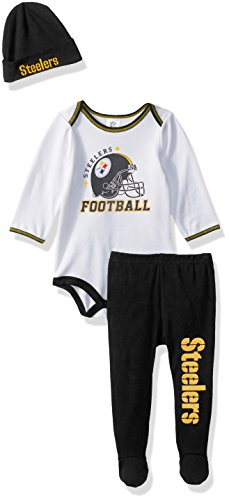 NFL Pittsburgh Steelers Boys Bodysuit Pants & Cap Set, 0-3 Months, Black (Sleeper Cap)