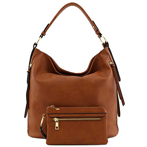 2pc Set Faux Leather Large Hobo Bag with Pouch Purse Tan ()
