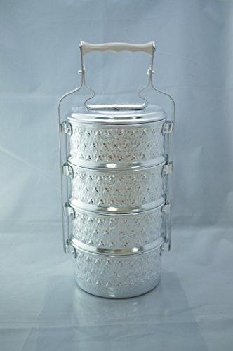 (VTG Picnic BAS-RELIEF Art Antique Thai Food Carrier 4 Tier Tiffin RARE Buddhist)