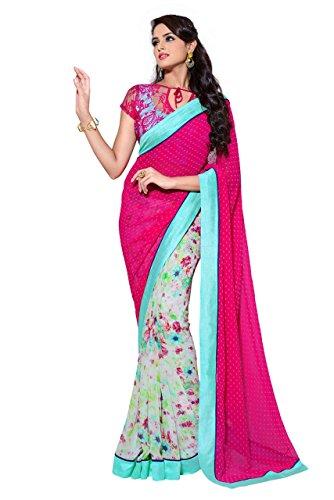 Saris and Things Hot Pink and Teal Exclusive Designer Georgette Sari Saree