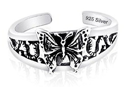 Sterling Silver 925 Old Butterfly Design Toe Ring Nickel Free Adjustable Fit (Butterfly Silver Toe Ring)