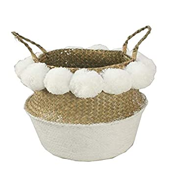 SZETOSY Natural Seagrass Storage Basket GOODCHANCEUK Pom Pom Belly Basket With Handles Foldable Woven Basket for Laundry Toys or Planters,Nursery 36x32 White Basket with White Pom Pom Decoration