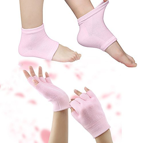 Codream Cotton Moisturizing Gloves and Socks Set Day Night Instantly Soften Repair Eczema Dry Rough and Cracked Hands Feet Gel Lining Infused with Essential Oils and Vitamins Pink