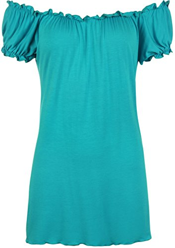 WearAll Women's Plus Size Off Shoulder Gypsy Boho Top - Turquoise - 18-20