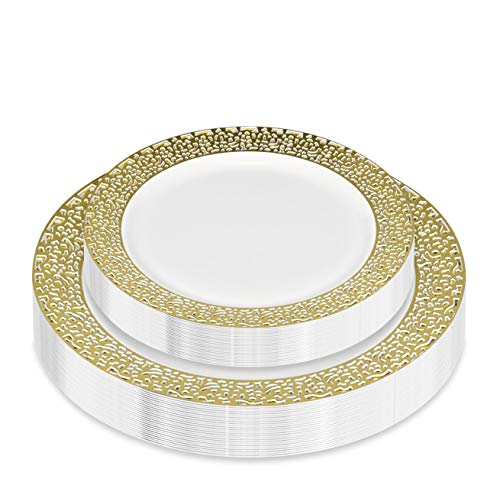 50-Piece Elegant Plastic Plates Set Service for 25 Disposable Plates Combo Include: 25 Dinner Plates & 25 Salad Plates for Weddings, Parties, Catering & Everyday Use (Gold Lace) -Stock Your Home by Stock Your Home