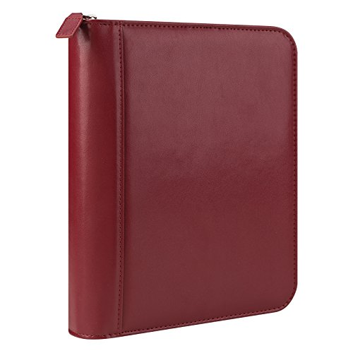 Classic FC Basics Leather Zipper Binder - Red by Franklin Covey (Image #1)