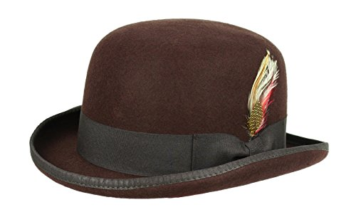 [Victorian Deep Crown Bowler Hat with Feather Brown (Large: 23.5 in. / 59.5 cm.)] (Pimp Hat With Feather)