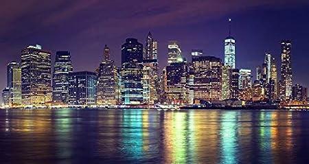 Azutura Manhattan Night Wall Mural City Skyline New York Photo Wallpaper Bedroom Decor Available In 8