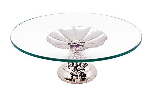 Elegant Glass Tabletop Platter Dish Tray on Metallic Silver crystal accented Base by Imported Gifte Depot (Image #1)