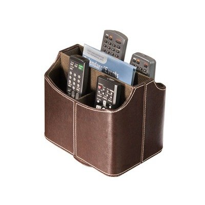 media-storage-faux-leather-spinning-remote-control-organizer-brown