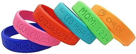 COULEUR de 4 adultes enfant ado bracelet brassard Silicone Bande Gratuit Personnalisé Gravure