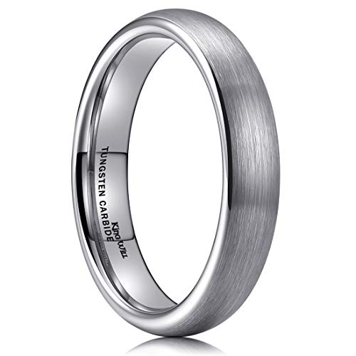 King Will TYRE 4mm Tungsten Carbide Ring Wedding Band Domed Brushed Finish Comfort Fit 12 ()