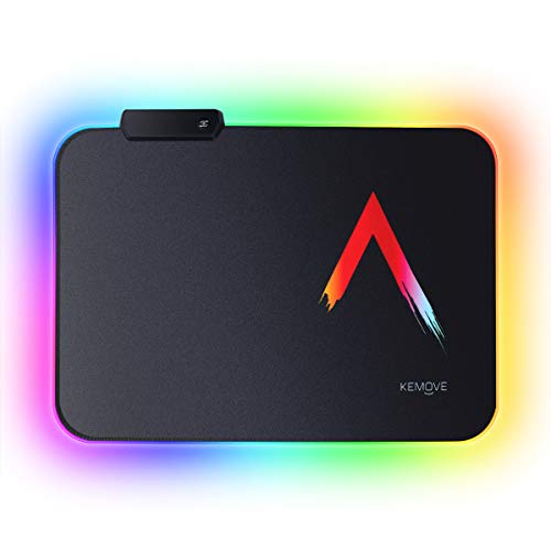 DIERYA x KEMOVE RGB Gaming Mouse Pad, Small Durable Suitable Size Glowing LED Mousepad, Non-Slip Rubber Base Computer Soft Keyboard Pad Mat(14 x 10in)