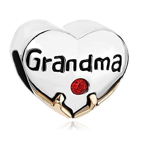Silver Plated Pugster Heart Grandma Red Crystal Love Bead Fits Pandora Charm Bracelet