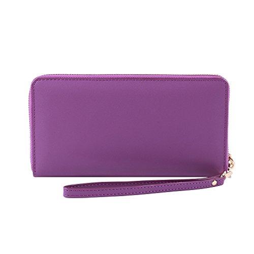 (Women RFID Blocking Wallet Genuine Leather Zip Around Clutch Ladies Purse Wristlet (Purple Smooth Leather))