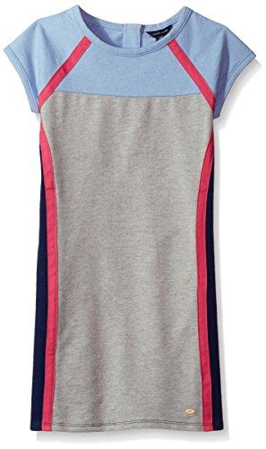 Tommy Hilfiger Big Girls' Colorblocked Dress, Heathered Rain, - For Hilfiger Kids Tommy