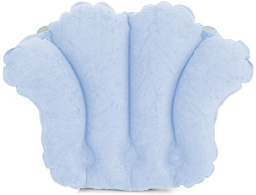 (Deluxe Comfort Spa Quality Terry Cloth-Easily Inflatable with Secure Suction Cups-Hot Tub and Jacuzzi Safe-Bath Pillow, Sky Blue)