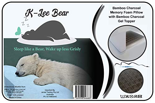 K-Lee Bear Cooling Gel Bamboo Charcoal Memory Foam Pillow, Gel Topped with Washable Cover