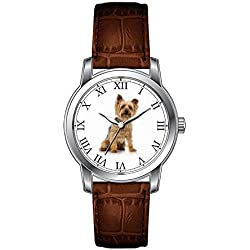 JLS Creative Watches Men's Vintage Design Leather Brown Band Wrist Watch Add Your Pet's Photo Cute Dog Picture Wrist Watches