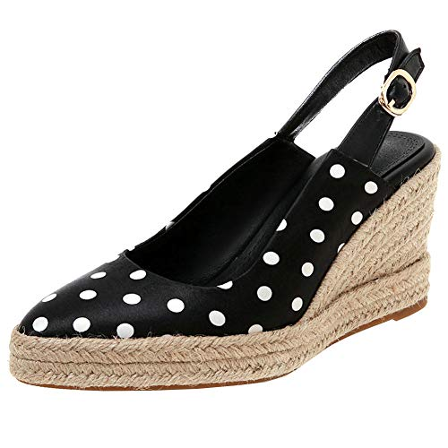 (KIKIVA Women Polka Dot Pumps Espadrille Wedge Pointed Toe Slingback Platform Court Shoes,7 M US,Black)