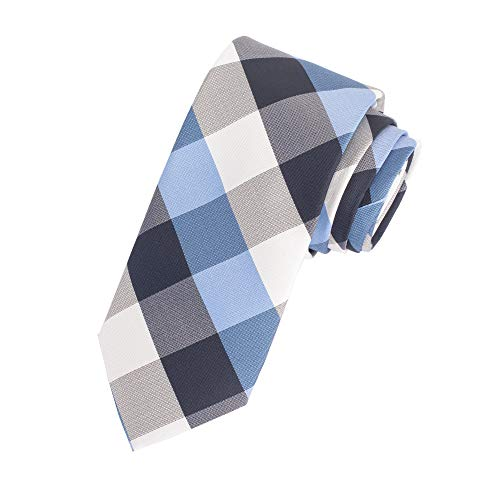 Amazon Essentials Men's Classic Plaid Necktie, Navy, One Size